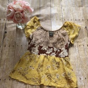 Anthropologie Fei Silk Floral Blouse- Size 0